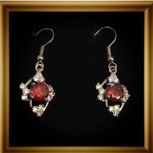 Jewelry - CZ Red Garnet Dangle Earrings